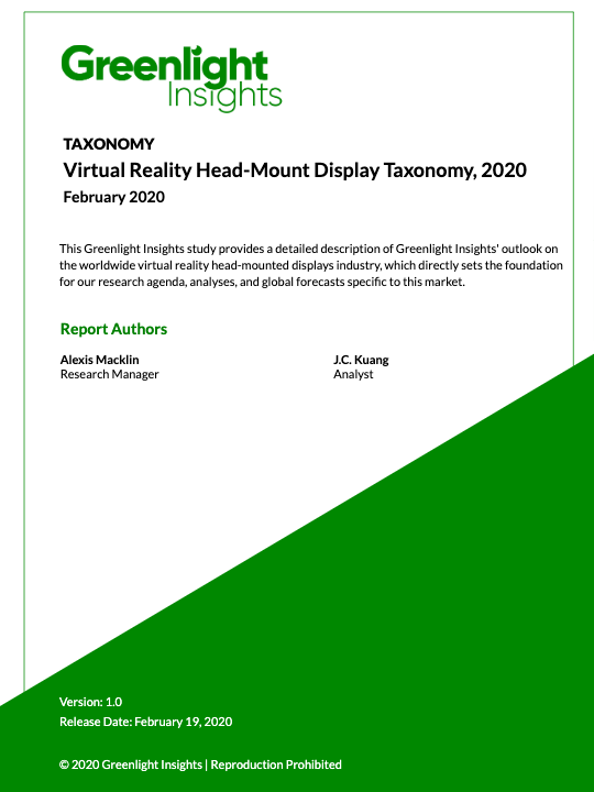 Virtual Reality Head-Mount Display Taxonomy, 2020